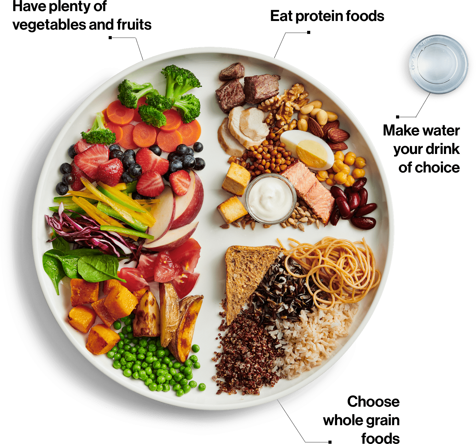 Canada's Food Guide. A plate showing 1/2 vegetables and fruit, 1/4 protein foods, 1/4 whole grains, and water to drink