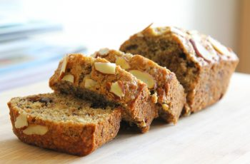 almond banana bread with plant based egg substitute