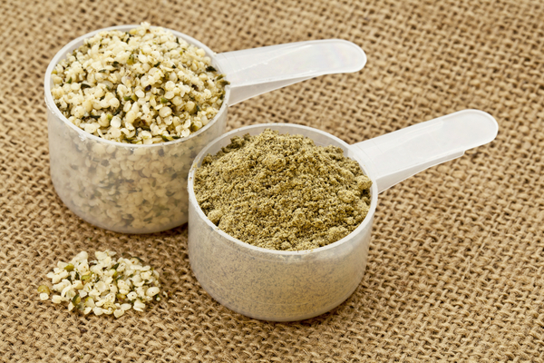Two scoops of hemp seeds and hemp protein powder