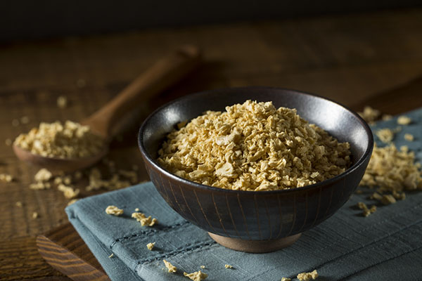 Raw Organic Textured Vegetable Protein in a Bowl