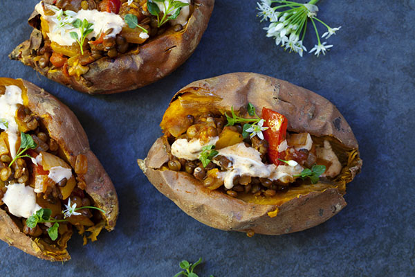 Sweet potatoes with vegetable toppings