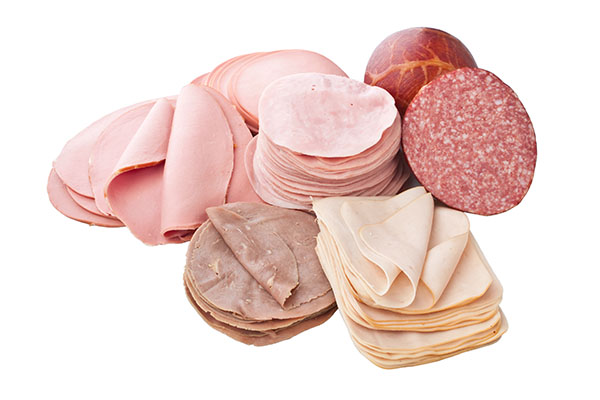 Thin Sliced Meats on White Background