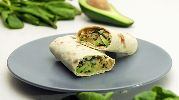 Tortilla wraps with Avocado, Spinach, Cheese and Bell Pepper.