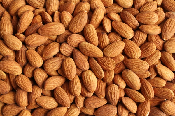 close-up on almonds.