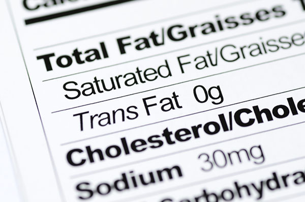 Trans fat label.